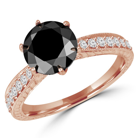 Round Cut Black Diamond Multi-Stone 6-Prong Vintage Engagement Ring with Round Diamond Accents in Rose Gold - #HR6207-R-BLK