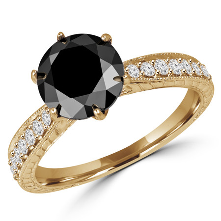 Round Cut Black Diamond Multi-Stone 6-Prong Vintage Engagement Ring with Round Diamond Accents in Yellow Gold - #HR6207-Y-BLK