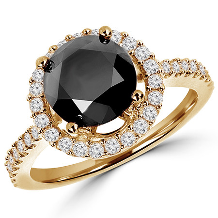 Round Cut Black Diamond Multi-Stone 4-Prong Vintage Halo Engagement Ring with Round Diamond Accents in Yellow Gold - #HR6212-Y-BLK