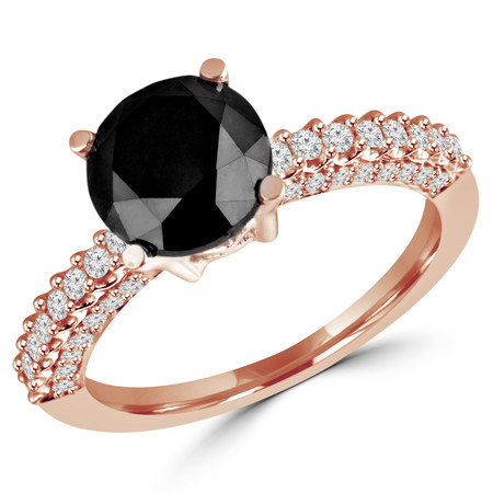 Round Cut Black Diamond Multi-Stone 4-Prong Vintage Engagement Ring with Round Diamond Scallop-Set & Pave Accents in Rose Gold - #HR6213-R-BLK