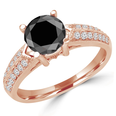 Round Cut Black Diamond Multi-Stone 4-Prong Vintage Engagement Ring with Round Diamond Accents in Rose Gold - #HR6225-R-BLK