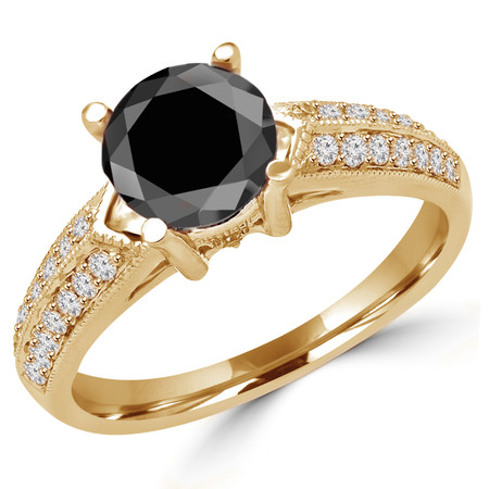 Round Cut Black Diamond Multi-Stone 4-Prong Vintage Engagement Ring with Round Diamond Accents in Yellow Gold - #HR6225-Y-BLK