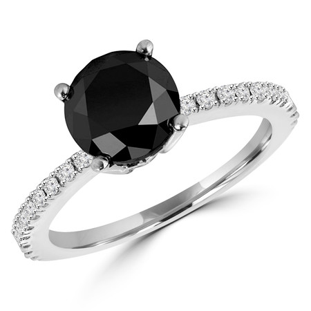Round Cut Black Diamond Multi-Stone 4-Prong Engagement Ring with Round Diamond Scallop-Set Accents in White Gold - #HR6266-BLK-W