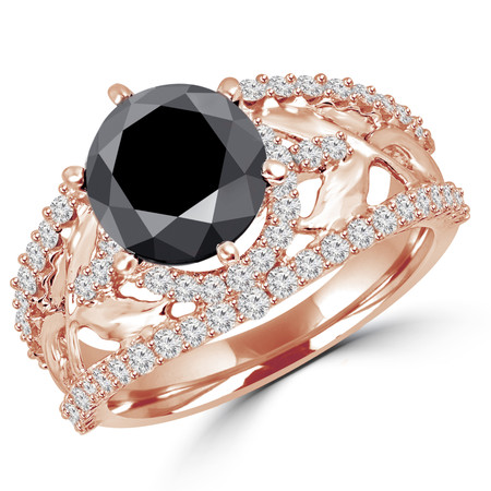 Round Cut Black Diamond Multi-Stone Floral-Motif 4-Prong Vintage Halo Engagement Ring with Round Diamond Accents - #HR6520-BLK-R