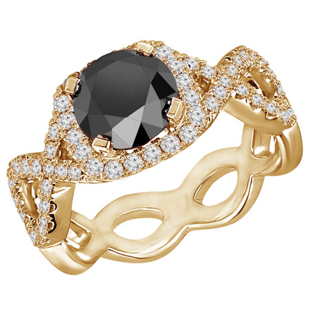 Round Cut Black Diamond Multi-Stone 4-Prong Infinity Engagement Ring with Round Diamond Accents in Yellow Gold - #HR6938-Y