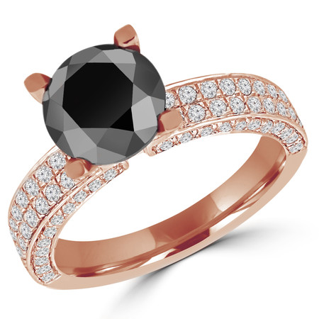 Round Cut Black Diamond Multi-Stone 4-Prong Engagement Ring with Round Diamond Pave Accents in Rose Gold - #HDR10077-BLK-R