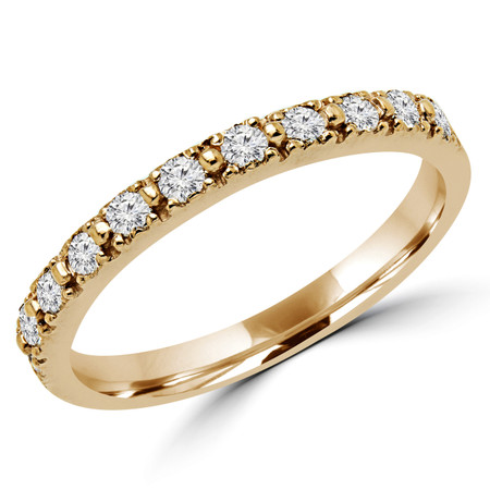 Round Cut Diamond Multi-Stone Shared-Prong Wedding Band Ring in Yellow Gold - #NOVOBAND-Y
