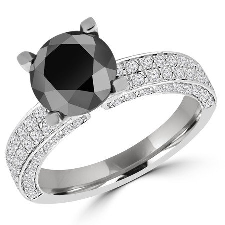 Round Cut Black Diamond Multi-Stone 4-Prong Engagement Ring with Round Diamond Pave Accents in White Gold - #HDR10077-BLK-W