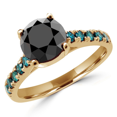 Round Cut Black Diamond Multi-Stone 4-Prong Cathedral-Set Engagement Ring with Round Blue Diamond Accents in Yellow Gold - #SM1991-BLK-Y