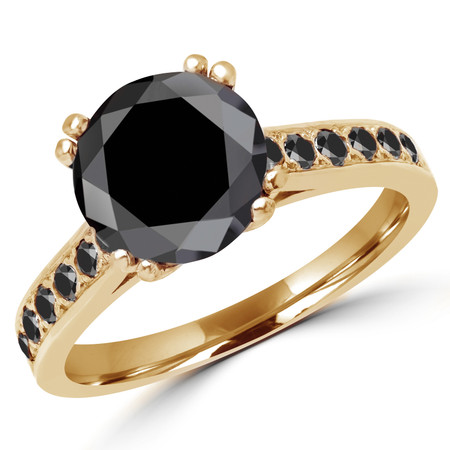 Round Cut Black Diamond Multi-Stone Double-Prong Fashion Engagement Ring with Black Diamond Accents in Yellow Gold - #SM2361-Y-BLK-BLK