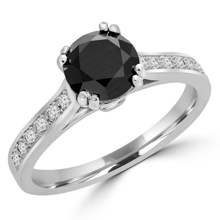 Round Cut Black Diamond Multi-Stone Double-Prong Fashion Engagement Ring with Diamond Accents in White Gold - #SM2361-W-BLK
