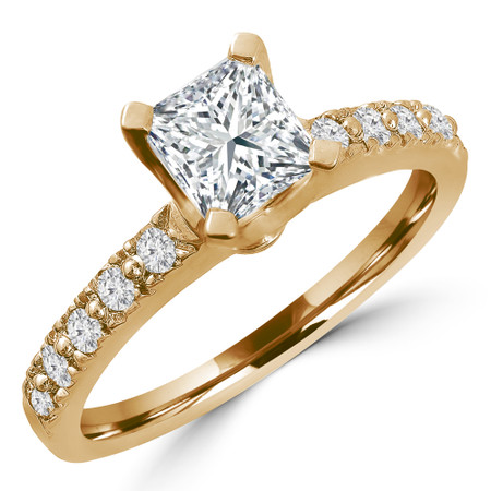 Princess Cut Diamond Multi-Stone 4-Prong Engagement Ring with Round Diamond Accents in Yellow Gold - #HR10362-PR-Y