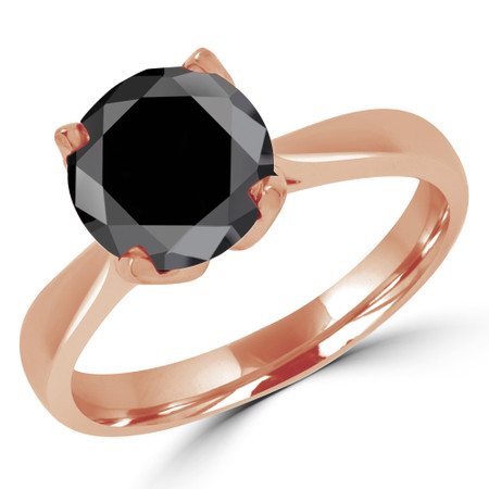 Round Cut Black Diamond Solitaire Engagement Ring in Rose Gold - #CINDY-BLK-R