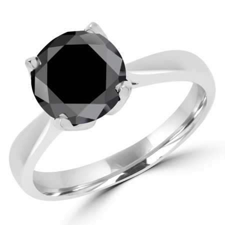 Round Cut Black Diamond Solitaire Engagement Ring in White Gold - #CINDY-BLK-W
