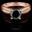 Round Cut Black Diamond Solitaire Tapered Shank V-Prong Engagement Ring in Rose Gold - #714L-R-BLK