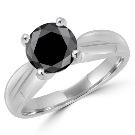 Round Cut Black Diamond Solitaire Tapered Shank V-Prong Engagement Ring in White Gold - #714L-W-BLK