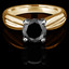 Round Cut Black Diamond Solitaire Tapered Shank V-Prong Engagement Ring in Yellow Gold - #714L-Y-BLK