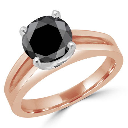 Round Cut Black Diamond Solitaire Split Shank 4-Prong Engagement Ring in Rose Gold - #210L-R-BLK