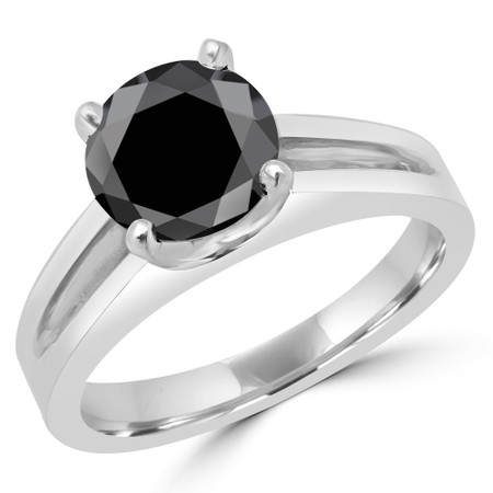 Round Cut Black Diamond Solitaire Split Shank 4-Prong Engagement Ring in White Gold - #210L-W-BLK