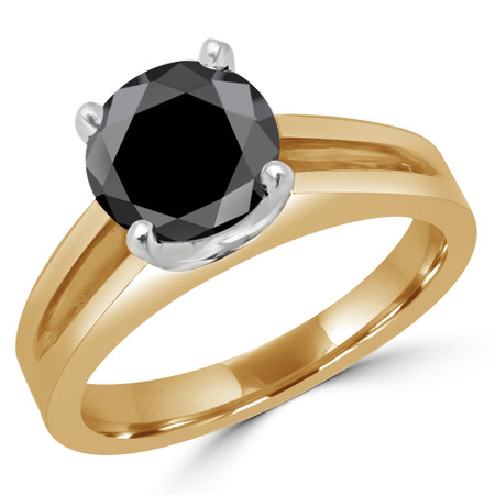 Round Cut Black Diamond Solitaire Split Shank 4-Prong Engagement Ring in Yellow Gold - #210L-Y-BLK