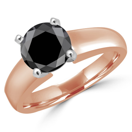Round Cut Black Diamond Solitaire 4-Prong Engagement Ring in Rose Gold - #1428L-BLK-R