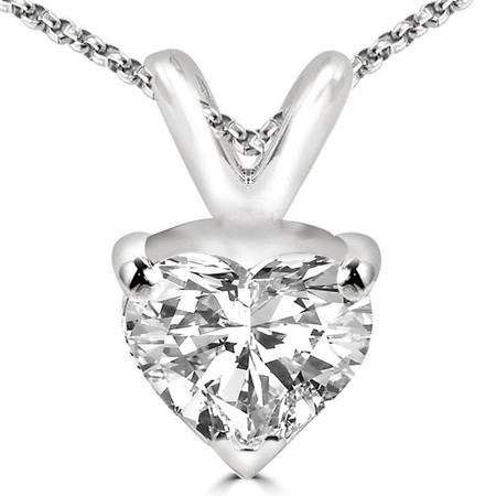 Heart Cut Diamond Solitaire 3-Prong Pendant Necklace with Chain in White Gold - #PHF-W
