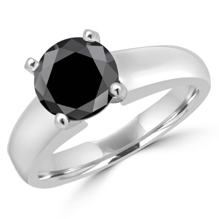 Round Cut Black Diamond Solitaire 4-Prong Engagement Ring in White Gold - #1428L-BLK-W