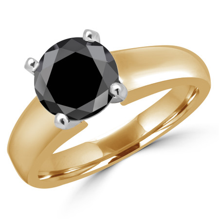 Round Cut Black Diamond Solitaire 4-Prong Engagement Ring in Yellow Gold - #1428L-BLK-Y