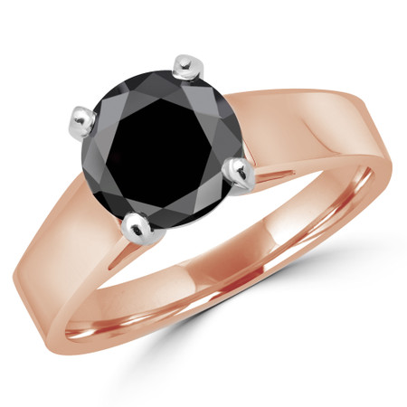 Round Cut Black Diamond Solitaire Cathedral-Set High-Set 4-Prong Engagement Ring in Rose Gold - #323L-R-BLK