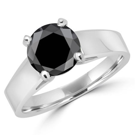 Round Cut Black Diamond Solitaire Cathedral-Set High-Set 4-Prong Engagement Ring in White Gold - #323L-W-BLK