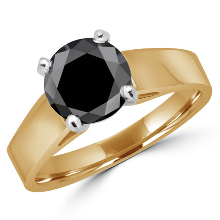 Round Cut Black Diamond Solitaire Cathedral-Set High-Set 4-Prong Engagement Ring in Yellow Gold - #323L-Y-BLK