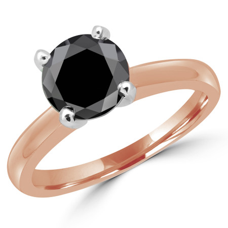 Round Cut Black Diamond Solitaire Cathedral-Set 4-Prong Engagement Ring in Rose Gold - #2546L-BLK-R