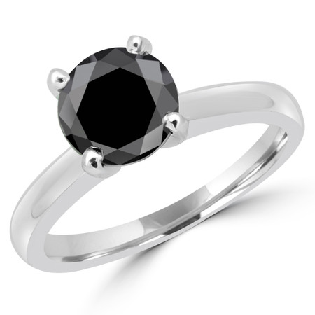 Round Cut Black Diamond Solitaire Cathedral-Set 4-Prong Engagement Ring in White Gold - #2546L-BLK-W