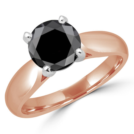 Round Cut Black Diamond Solitaire 4-Prong Cathedral-Set Engagement Ring in Rose Gold - #1244L-BLK-R