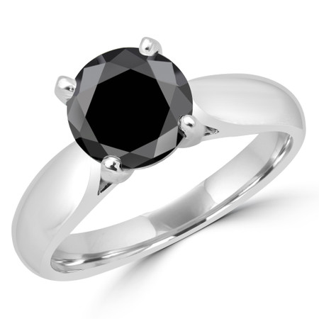 Round Cut Black Diamond Solitaire 4-Prong Cathedral-Set Engagement Ring in White Gold - #1244L-BLK-W