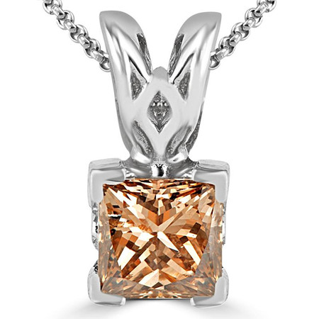 Princess Cut Champagne Diamond Solitaire V-Prong Decorative-Bail Pendant Necklace with Chain in White Gold - #PSF-W-CHAMP