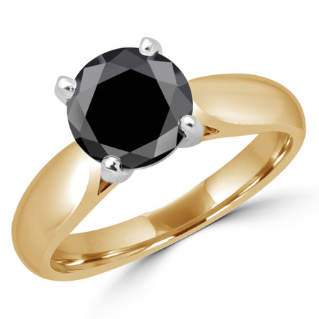 Round Cut Black Diamond Solitaire 4-Prong Cathedral-Set Engagement Ring in Yellow Gold - #1244L-BLK-Y
