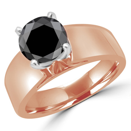 Princess Cut Black Diamond Solitaire Wide Shank Cathedral Set 4-Prong Engagement Ring in Rose Gold - #954LP-R-BLK