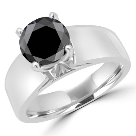 Princess Cut Black Diamond Solitaire Wide Shank Cathedral Set 4-Prong Engagement Ring in White Gold - #954LP-W-BLK