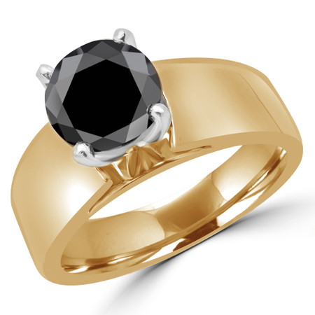 Princess Cut Black Diamond Solitaire Wide Shank Cathedral Set 4-Prong Engagement Ring in Yellow Gold - #954LP-Y-BLK