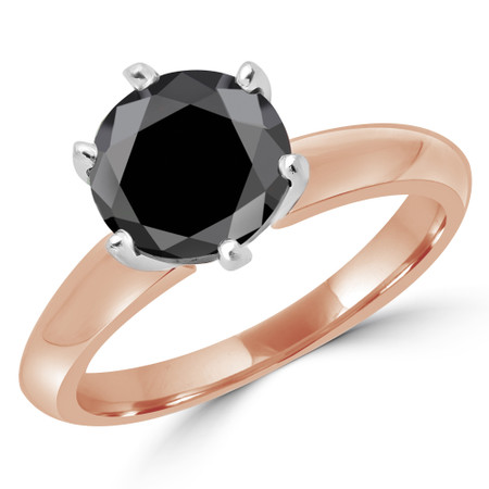 Round Cut Black Diamond Solitaire 6-Prong Knife-Edge Engagement Ring in Rose Gold - #1956L-BLK-R