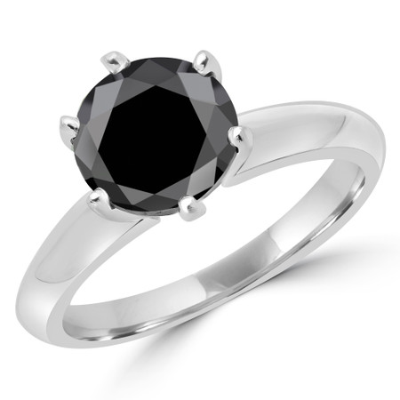 Round Cut Black Diamond Solitaire 6-Prong Knife-Edge Engagement Ring in White Gold - #1956L-BLK-W