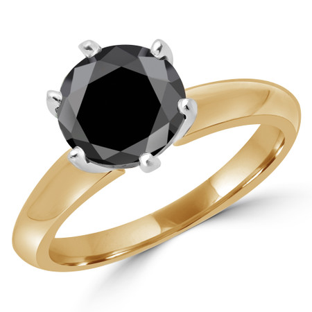 Round Cut Black Diamond Solitaire 6-Prong Knife-Edge Engagement Ring in Yellow Gold - #1956L-BLK-Y