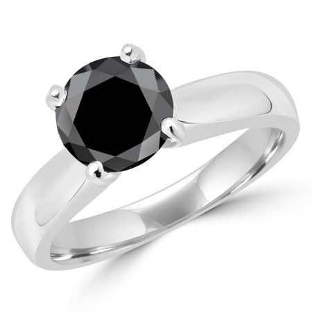 Round Cut Black Diamond Solitaire 4-Prong Engagement Ring in White Gold - #1625L-BLK-W