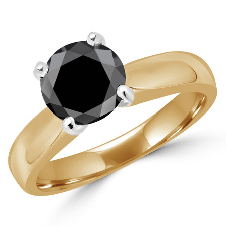 Round Cut Black Diamond Solitaire 4-Prong Engagement Ring in Yellow Gold - #1625L-BLK-Y