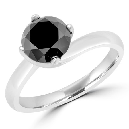 Round Cut Black Diamond Solitaire 4-Prong Bypass Engagement Ring with Round Diamond Accents in White Gold - #KATE-BLK-W