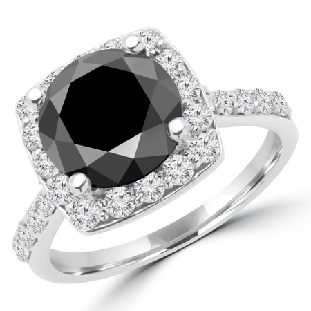 Round Cut Black Diamond Halo Engagement Ring with Accents in White Gold - #MARTHA-W-BLK