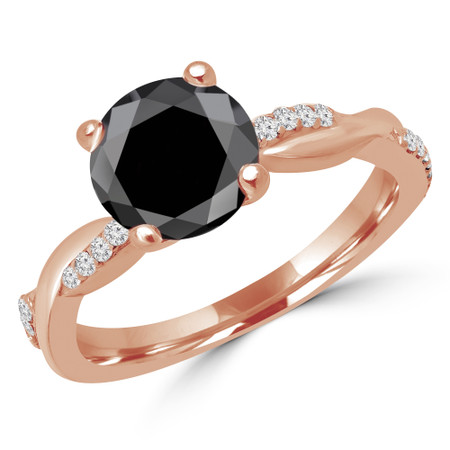Round Cut Black Diamond Multi-Stone 4-Prong Twisted Engagement Ring with Round Diamond Accents in Rose Gold - #CLAUDIA-BLK-R