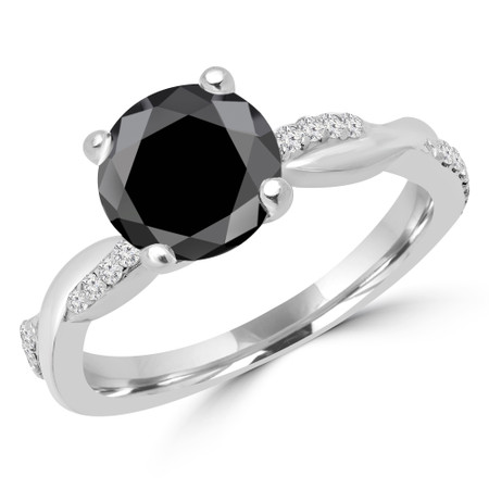 Round Cut Black Diamond Multi-Stone 4-Prong Twisted Engagement Ring with Round Diamond Accents in White Gold - #CLAUDIA-BLK-W
