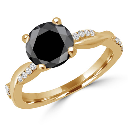 Round Cut Black Diamond Multi-Stone 4-Prong Twisted Engagement Ring with Round Diamond Accents in Yellow Gold - #CLAUDIA-BLK-Y